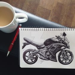 Kawasaki Ninja 650 Pen Sketch by Narniakid