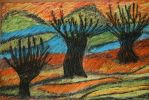 willows in coloured sunset by ingeline-art