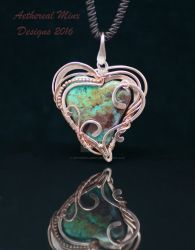 Chrysocolla and copper pendant by AetherealMinx