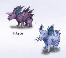 029 Nidoran (female) and 032 Nidoran (male) by RtRadke