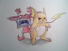 Ickis and Raichu by Zefer