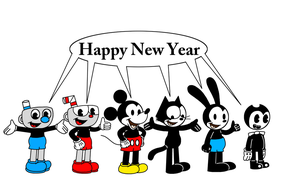 Rubber Hose Toons wishing Happy New Year by MarcosPower1996