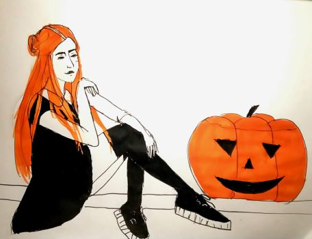 Girl and pumpkin  by Clementine-Schakal