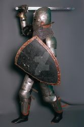 Knight in armor of the 14th century, with lowered by BlautZauger