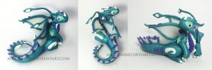 Water Sprite Polymer Clay Dragon by MiniMythicalMonsters