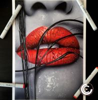 Colour splash lips by clarke-art