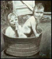 2 kids in a bucket by Paintmouth