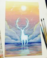 Stag on water by Elwenz
