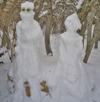 Auron and Lulu Snow Sculpture2 by auronlu
