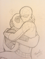 Spideypool - Cuddles by Threshie