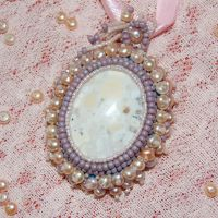 Pearl Nested Eagle's Eye Agate Pendant by dragonariaes