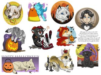 YCH Halloween pups ( CLOSED) by NatsumeWolf