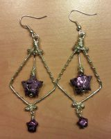 purple paper star and silver wire earrings by syn-O-nyms