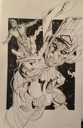 Galactus and the Silver Surfer by peterclintonart