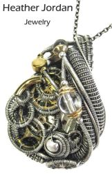Two-Toned Steampunk Pendant Wire-Wrapped in SS by HeatherJordanJewelry