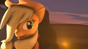 SFM - Applejack at sunset by Stormbadger