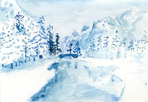 Winter scene postcard by Yesmouse