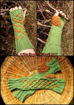 Celtic Inspired Fingerless Gloves by ThePeculiarMissE