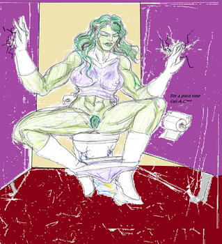 She-hulk On The toilet by theaven