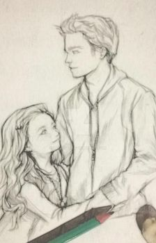 Sketch of Edward and Renesmee by Rochioo