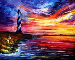Lighthouse And Wind by Leonid Afremov by Leonidafremov