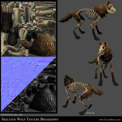 Skeleton Wolf Texture Breakdown by 100chihuahuas