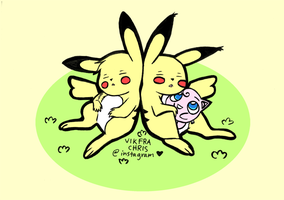 Two Resting Pikachus by vikfrachris