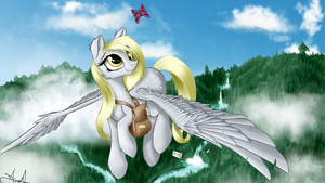 'What're you doing way up here, little guy?' Derpy by AureliaFreefeather