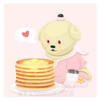 Commission: Sony Aibo with Pancakes by CubedCake