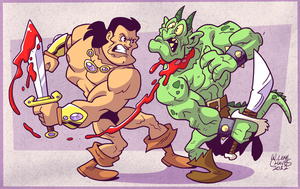 Barbarian VS Demon Creature by BezerroBizarro