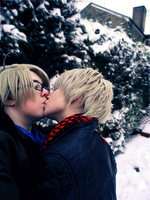 A kiss..in the snow by SheepGoesRawr