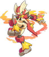Commission: Model ZX and Mega Blaziken Fusion by ultimatemaverickx