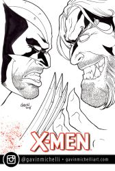 Wolverine vs Sabertooth Sketch Cover by GavinMichelli