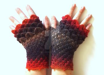 Reds and Blacks - Dragon Gloves by FearlessFibreArts