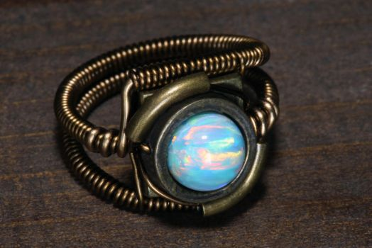 Fire and Ice Opal Steampunk Ring by CatherinetteRings