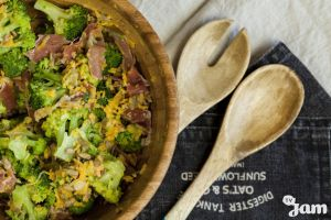 Salad with prosciutto, broccoli and sweet dressing by KLutskaya