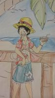 Straw Hats on Vacation- Luffy by XfangheartX