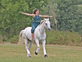 flying on a white horse by DieCooleSocke