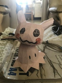 Mimikyu pokemon papercraft model by deathbynekos