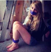 Nice gril Gagged whit blue tape by jehoofdisdik
