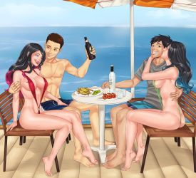 Commission: Beachside Double Date by LinART by Kudos707
