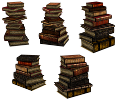 UNRESTRICTED - Stacks of books renders II by frozenstocks