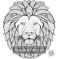 African Lion (The Exotic Colouring Book) by megcowley