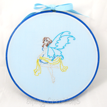Blue Fairy Art Wall Hanging Framed Embroidery by merigreenleaf