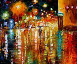 Beauty Of The Rain by Leonid Afremov by Leonidafremov