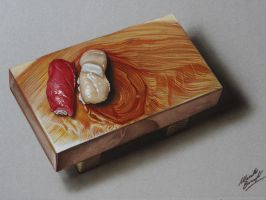 Nigiri sushi on a wooden platter DRAWING by marcellobarenghi