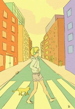 A boy and a cat by Neesha