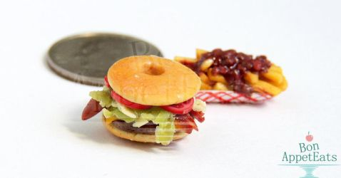 1:12 Donut Bacon Cheeseburger by PepperTreeArt