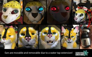 Serval fursuit head steps (WIP) by Sethaa