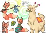 Three Foxes and a Llama by leelakin